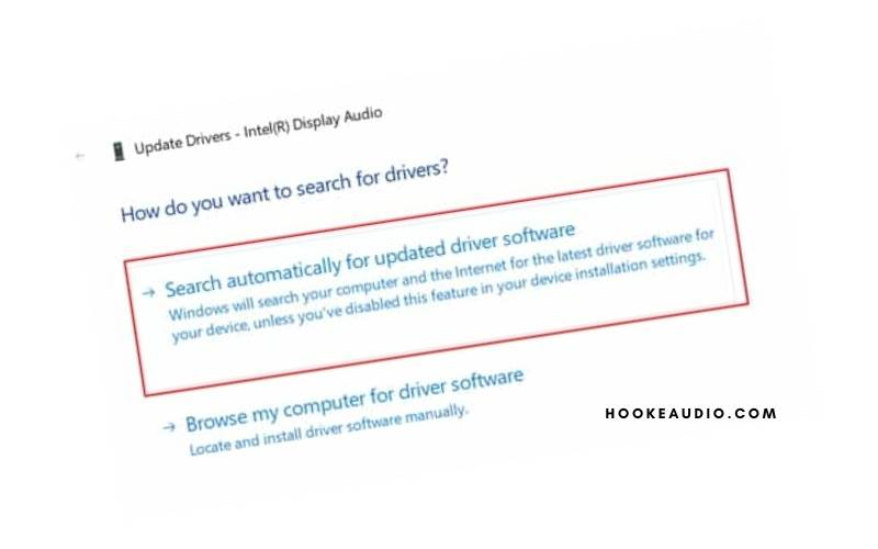 click on Search automatically to find the latest driver software
